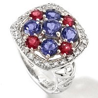 GI SS CUSHION SHAPE GEM RING BRAZ GARNET, IOLITE, WHITE SAPH