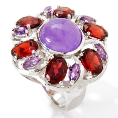 116-691 - Gem Insider Sterling Silver 10mm Purple Jade, Garnet & Amethyst Ring