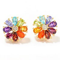 SS/P EAR MULTI-GEMSTONE RAINBOW FLOWER STUD W/ DIA ACCENT