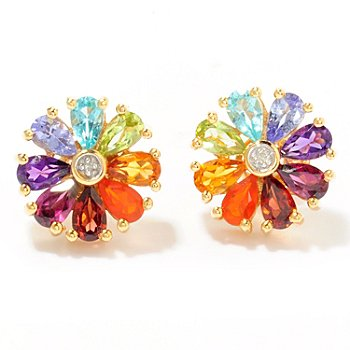 116-694 - NYC II 2.81ctw Multi-Gemstone Rainbow Flower Stud Earrings