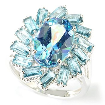 116-714 - NYC II Exotic Topaz & Gemstone Baguette Halo Ring