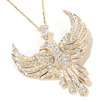 14K YG WINGED BIRD PAVE DIAMOND