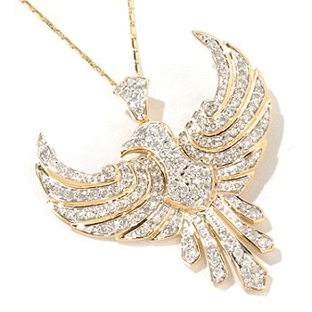 116-717 - Beverly Hills Elegance 14K 1.25ctw Diamond Bird Pendant w/Chain