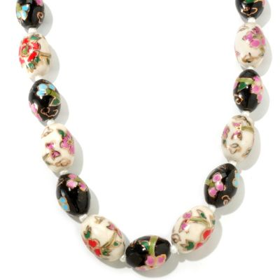 "116-750 - Sterling Silver 25"" Cultured Freshwater Pearl & Cloisonne Necklace"