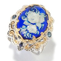 SS/PALL/18KGP RING HAND-CARVED ROSE INTAGLIO AMBER W/ LONDON BLU TOPAZ & BLUSAPH