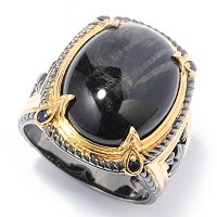 SS/PALL/18KGP & BLK RHOD RING BLACK HYPERSTHENE W/ BLK DIA
