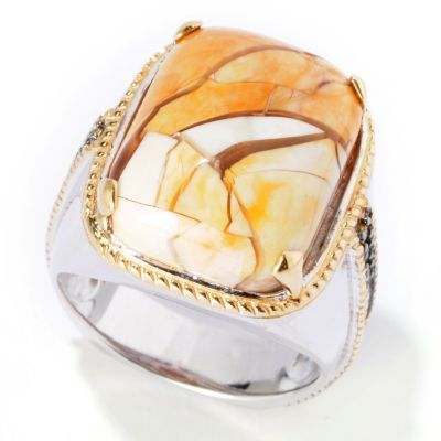 116-833 - Men's en Vogue II Brecciated Mookaite & Yellow Sapphire Ring