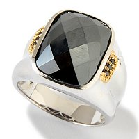 SS/PALL/18KGP RING FACETED HEMATITE W/ BLK DIA ACCENT
