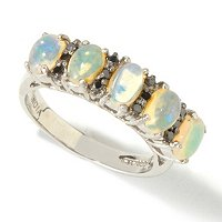 SS 5 STONE ETHIOPIAN OPAL AND BLACK DIAMOND RING