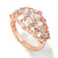 SS/18K ROSE VERMEIL RING MORGANITE & DIAMOND