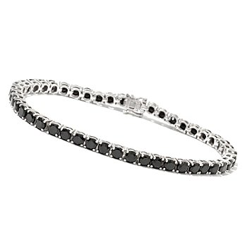117-115 - Gem Treasures Sterling Silver 4mm Round Black Spinel Tennis Bracelet