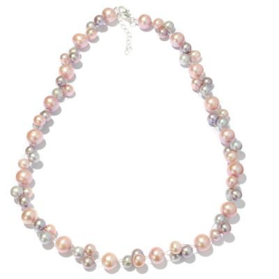 "117-124 - Sterling Silver 20"" 7-12mm Dyed Freshwater Cultured Pearl Wire Necklace"