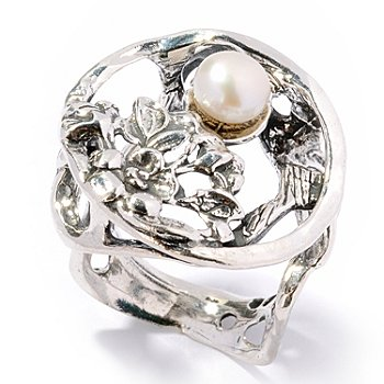 117-161 - Israeli Artisan Sterling Silver 6mm Freshwater Cultured Pearl Ring