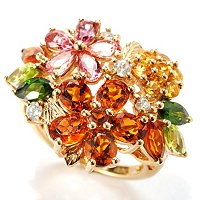 SS/P RING MULTI-GEMSTONE FLOWER