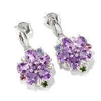 SS/P EAR MULTI-GEMSTONE FLOWER DROP