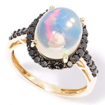 117-185 - Gem Insider 14K Gold 11 x 9mm Oval Opal & Black Diamond Ring