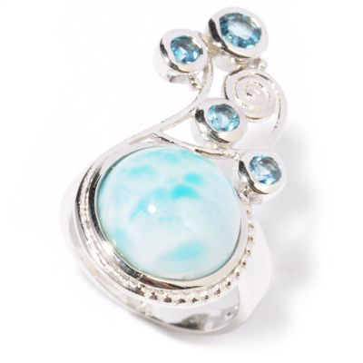 117-193 - Gem Insider Sterling Silver 12mm Larimar & London Blue Topaz Scroll Ring