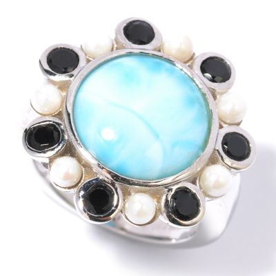 117-239 - Gem Insider Sterling Silver Larimar, Bleached Cultured Freshwater Pearl & Black Spinel Ring