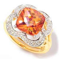 SS/24K WITH SUNSET TOPAZ AND DIAMOND RING