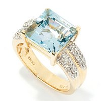 GT 14K YG PRINC AQUA AND DIAMOND RING