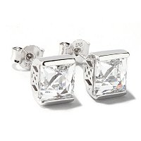 TYCOON SS/PLAT TENSION SET SQUARE TYCOON CUT STUD EARRINGS