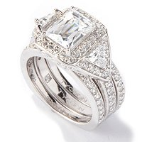 TYCOON SS/PLAT RECTANGULAR TYCOON CUT RING W/ TWO BANDS