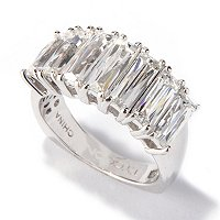 TYCOON SS/PLAT EMERALD CUT BAND RING