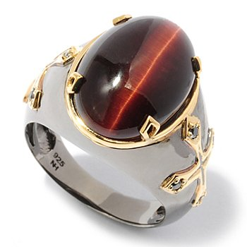 117-431 - Men's en Vogue II 18 x 13mm Tiger's Eye & Black Diamond Ring