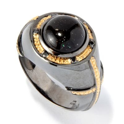 117-472 - Gems en Vogue II Pinfire Black Opal & Black Diamond Men's Ring
