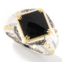 MEN'S - SS/PALL/18KGP & BLK RHOD RING FACETED ONYX & BLK DIA