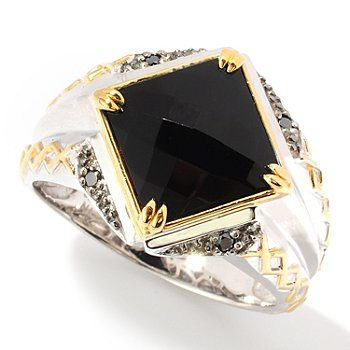 117-473 - Men's en Vogue II Faceted Onyx & Black Diamond Ring