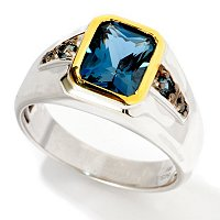 MEN'S - SS/PALL & BLK RHOD RING RADIANT-CUT LONDON BLUE TPZ W/ BLK DIA