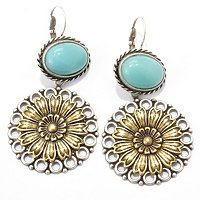 GOLDTONE RETROMEX FLOWER EARRINGS