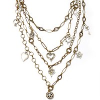 GOLDTONE MULTI STRAND CHARM NECKLACE