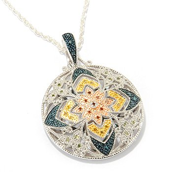 117-635 - Diamond Treasures Sterling Silver .20ctw Multi-Color Diamond Pendant w/ 18'' Chain