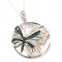 SS BLUE & WHITE BUTTERFLY DIAMOND PENDNAT W/CHAIN .25CTW