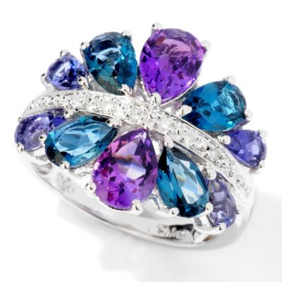 117-643 - NYC II 3.32ctw Pear Cut Multi Gemstone & Diamond Accent Ring