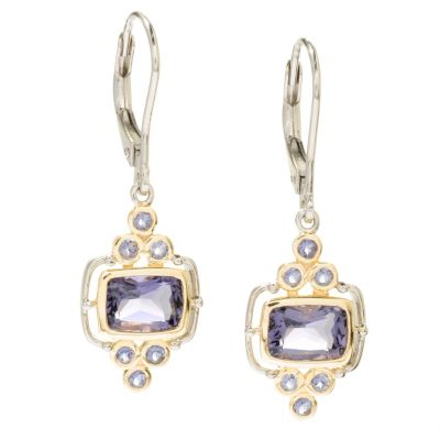 117-687 - NYC II 2.46ctw Blue Amethyst & Iolite Drop Earrings