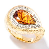 SS/18KV RING PEAR-SHAPED MADEIRA CITRINE & WHT SAPH