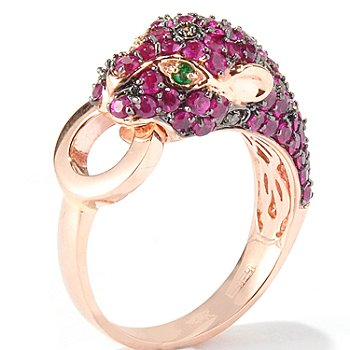 117-732 - EFFY 14K Rose Gold 2.17ctw Ruby Emerald &Diamond Panther Ring