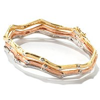 14K TRI-COLOR SET OF 3 BANGLES .75CTW DIAMOND