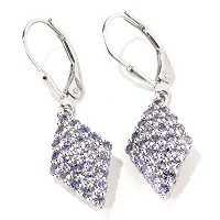 GI SS MARQUISE SHAPED TANZANITE CLUSTER EARRINGS W/LEVER BACKS