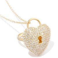 "SB SS/CHOICE HEART LOCK CONVERTIBLE RING/PENDANT W/ 18"" CHAIN"