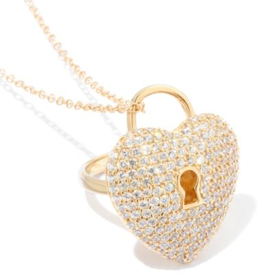 117-818 - Sonia Bitton For Brilliante® 3.13 DEW Heart Lock Ring/Pendant