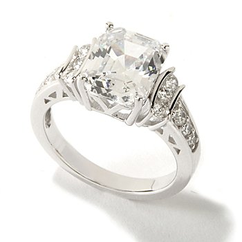 117-840 - Brilliante® Platinum Embraced™ 3.80 DEW Simulated Diamond Elongated Asscher Cut Ring
