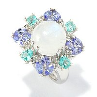 SS/PLAT RING RAINBOW MOONSTONE W/ APATITE & TANZANITE ACCENT