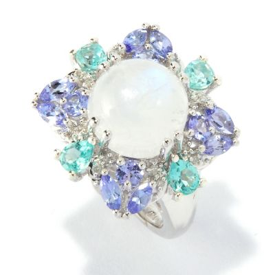 117-852 - NYC II Rainbow Moonstone w/ Multi-Gem Accent Ring