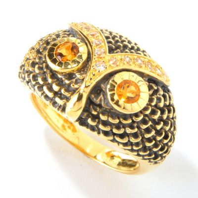 117-859 - NYC II Madeira Citrine w/ White Zircon Owl Ring