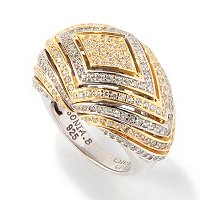 SB SS TWO-TONE DIAMOND SHAPE DOME RING