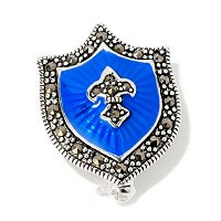SS MARC & BLUE ENAMEL SHIELD PIN